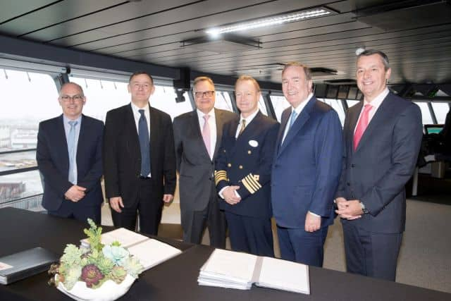 Launch of Symphony of the Seas, Royal Caribbean's newest and largest ship. Handover ceremony on the bridge of Symphony of the Seas. L-R -  Jean-Yves Jaouen, (CEO STX France) Laurent Castaing ( General Manager STX France)Harri Kulovaara, (executive vice president, Maritime & Newbuilding) Captain Rob Hempstead, Richard Fain ( Chairman and CEO Royal Caribbean Cruises LTD)  Michael Bayley ( President and CEO Royal Caribbean International)