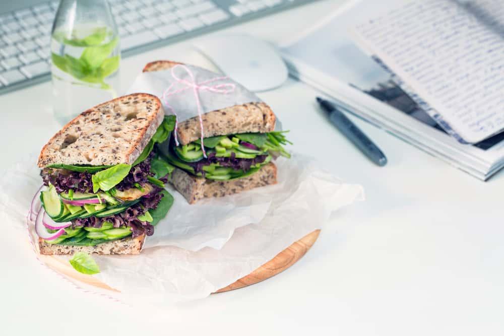 Healthy vegan sandwich with wholewheat bread